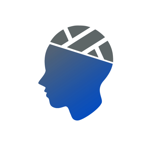 Animated side progile of a bandaged head indicating a concussion