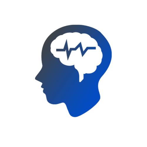 Animated side profile of a head showing brain waves indicating epilepsy