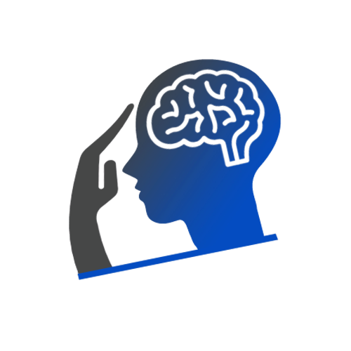 Animated side profile of a hand pressing on forehead indicating a headache